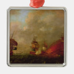 Lord Howe and the Comte d'Estaing off Rhode Christmas Ornaments