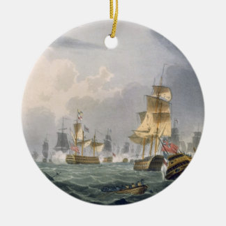 Lord Howe's Victory, 1st June 1794, engraved by Th Double-Sided Ceramic Round Christmas Ornament