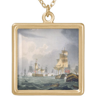 Lord Howe's Victory, 1st June 1794, engraved by Th Square Pendant Necklace