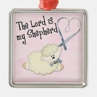 lord is my shepard baby lamb and heart on pink metal ornament