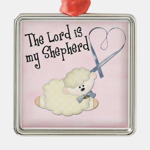 lord is my shepard baby lamb and heart on pink christmas ornaments