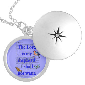 Lord is my shepherd round locket necklace