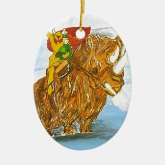 Lord Jamie Thorn Amber riding Bruno Double-Sided Oval Ceramic Christmas Ornament