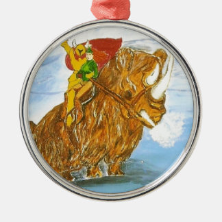 Lord Jamie Thorn Amber riding Bruno Round Metal Christmas Ornament