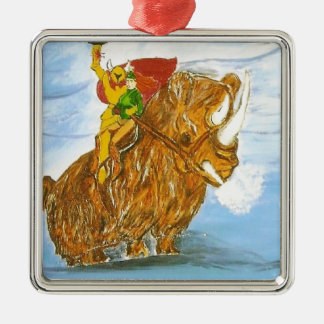 Lord Jamie Thorn Amber riding Bruno Square Metal Christmas Ornament