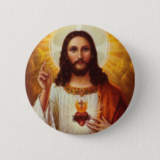 Lord Jesus Christ and the Sacred Heart Button