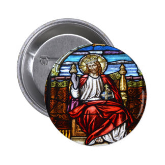 Lord Jesus on throne stained glass Pinback Button