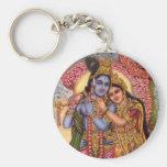 Lord Krishna & Radha Basic Round Button Keychain
