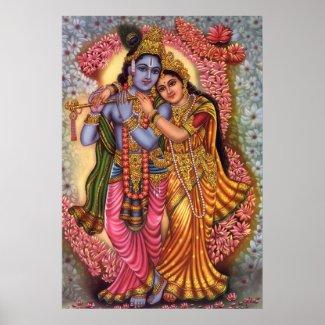 Lord Krishna & Radha Poster