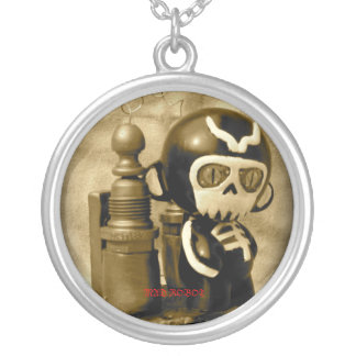 LORD NECROX , MAD ROBOT ROUND PENDANT NECKLACE