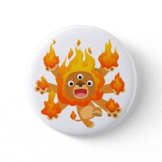 Lord of Fire!! (cute cartoon lion) Button Badge button