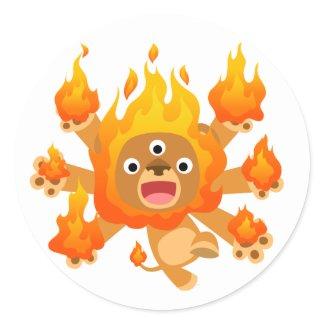 Lord of Fire!! (cute cartoon lion) Sticker sticker