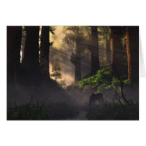 unicorn, forest, lightbeams, morning, nature cards, Card with custom graphic design