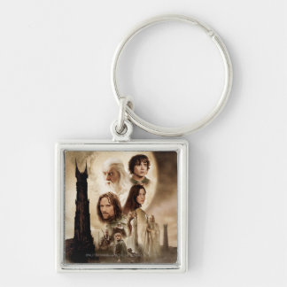 Lord of the Rings: The Two Towers Movie Poster Silver-Colored Square Keychain