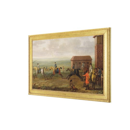 Lord Portmore Watching Racehorses on Exercise on N Canvas Print