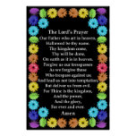 """Lord"""" Prayer in a Rainbow Flower Border Posters"""