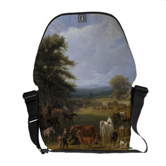 Lord River's Horse Farm oil on canvas Messenger Bag