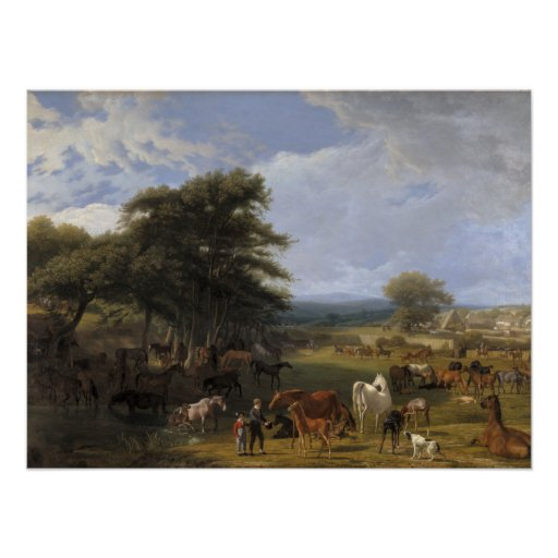 Lord River's Horse Farm oil on canvas Posters