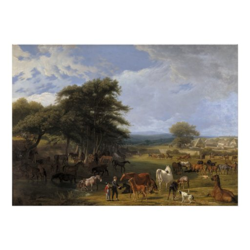 Lord River's Horse Farm oil on canvas Poster