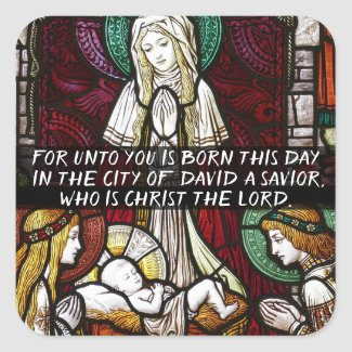 Lord Savior Jesus Christ is Born Christmas Sticker