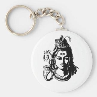 Lord Shiva Basic Round Button Keychain