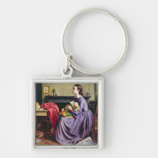 Lord, Thy Will Be Done, 1855 (oil on canvas) Silver-Colored Square Keychain