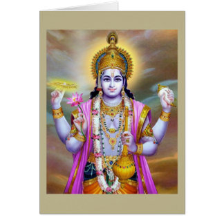 Lord Vishnu Floral Fine Art Card