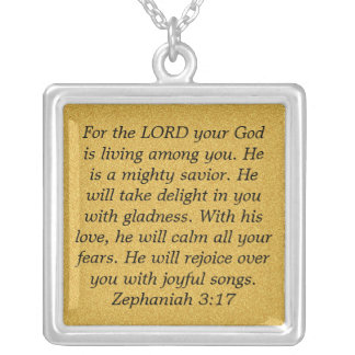 Lord your God bible verse Zephaniah 3:17 necklace