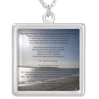 Lord's Footprints in the sand sterling silver neck Square Pendant Necklace