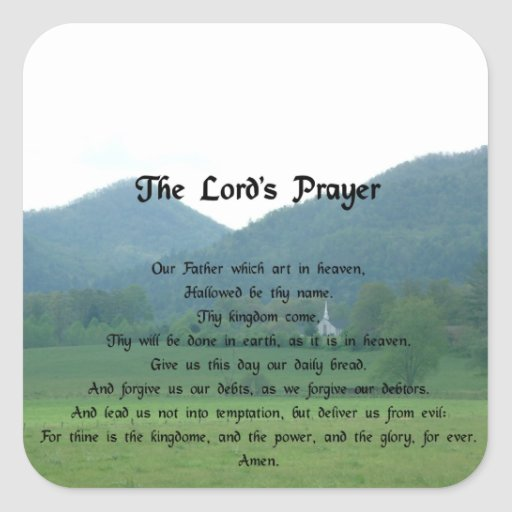 Lord's Prayer at Wolf Fork Valley Square Stickers