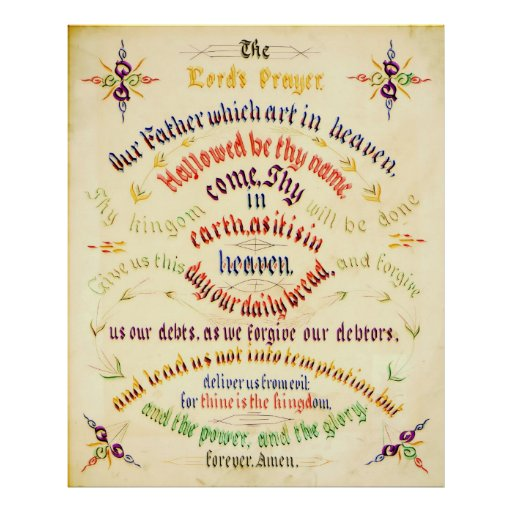 Lord's Prayer Calligraphy 1889 Posters
