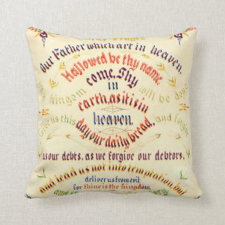 Lord's Prayer Calligraphy 1889 Throw Pillows