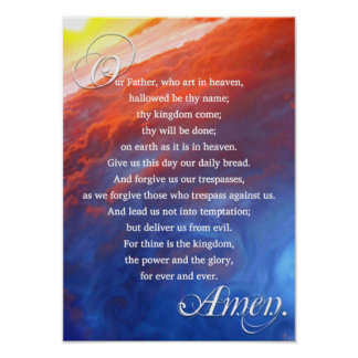 Lords Prayer Christian Inspirational Spiritual Poster