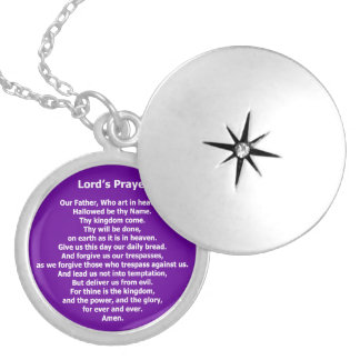 Lord's Prayer - Our Father Round Locket Necklace