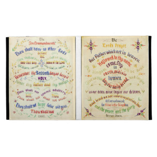 Lord's Prayer - Ten Commandments Calligraphy 1889 iPad Folio Covers