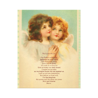 Lord's Prayer with Cute Angels Canvas Print