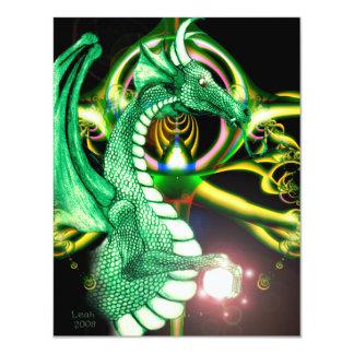 """~*Lore*~ del dragón verde Invitación 4.25"""" X 5.5"""""""