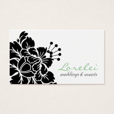 Professional Business Lorelei Black Damask Flower Chic Business Card