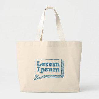 lorem ipsum, handwritten text in scribble frame tote bags