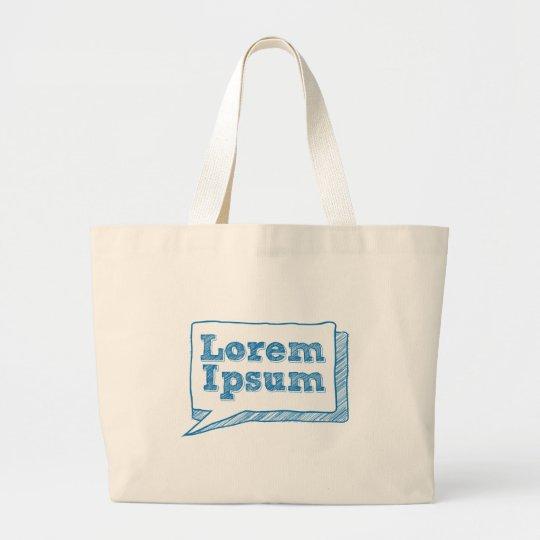 lorem ipsum, handwritten text in scribble frame large tote bag