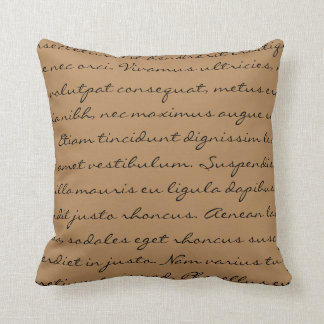 Lorem Ipsum Writing - Black Brown Text Pillow