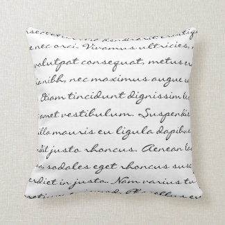 Lorem Ipsum Writing - Black Text Pillow