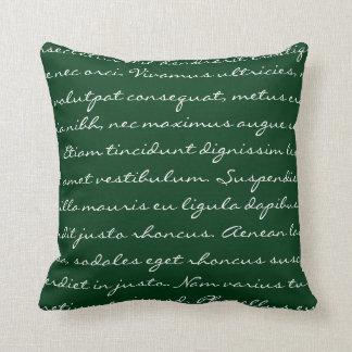 Lorem Ipsum Writing - White Dark Green Text Throw Pillow