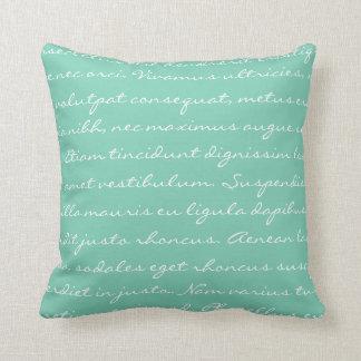 Lorem Ipsum Writing - White Teal Text Throw Pillows