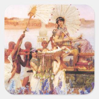Lorenzo Alma Tadema el encontrar de Moses Pegatina Cuadrada