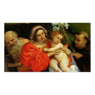 Lorenzo Loteria-Madonna con St Jerome y St Anthony Plantilla De Tarjeta De Visita