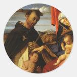 Lorenzo Loteria-Madonna y niño con el mártir de Etiqueta Redonda