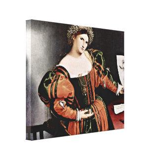 Lorenzo Lotto - A Venetian lady as Lucrezia Stretched Canvas Print