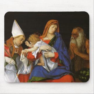 Lorenzo Lotto- Madonna,a Bishop & St. Onuphrius Mousepad