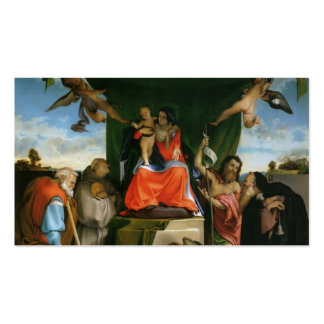 Lorenzo Lotto-Madonna with Angels and Saints Business Card Templates